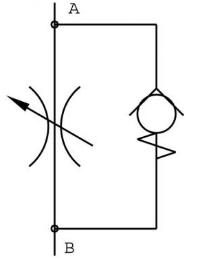 Hydraulisch symbool smoorterugslagventiel