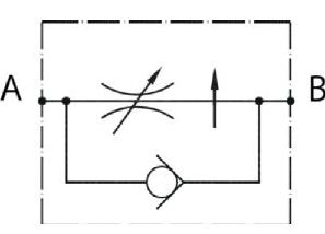 Hydraulisch symbool 2-weg druk-gecompenseerde stroomregelventielen