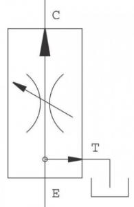 Hydraulisch symbool 3-weg druk-gecompenseerde stroomregelventielen – restolie drukloos naar de tank