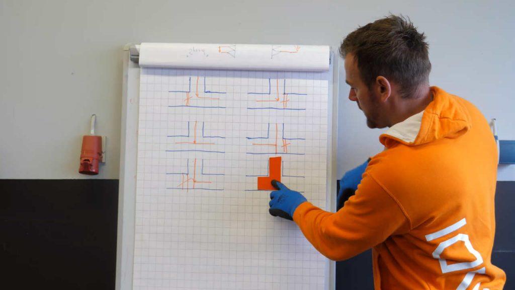 Productspecialist Eerjan legt uit hoe de stroomrichting is bij een driewegkraan met een L-boring