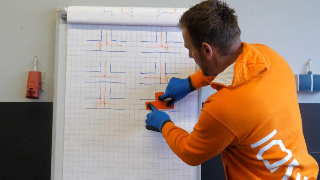 Productspecialist Eerjan legt uit hoe de stroomrichting is bij een driewegkraan met een T-boring