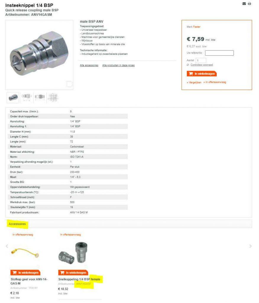 Een screenshot van onze website met een artikelnummer van een male-koppeling met aan de onderzijde de female-koppeling