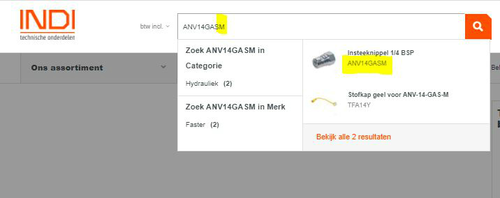 Een screenshot van onze website met een artikelnummer van een male-koppeling