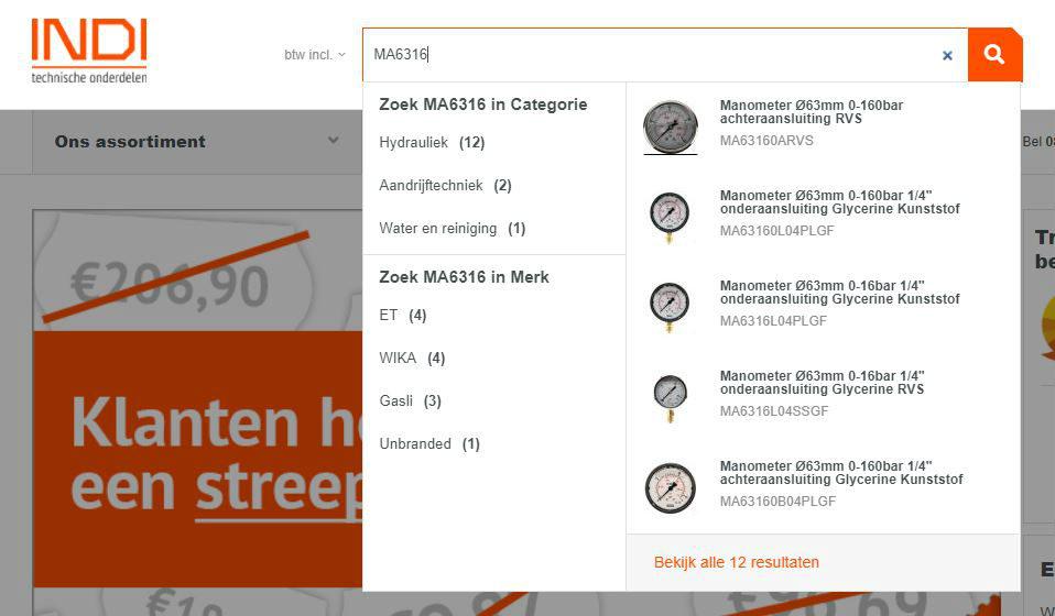 Een screenshot van de INDI-website met de codering van een manomter in de zoekbalk
