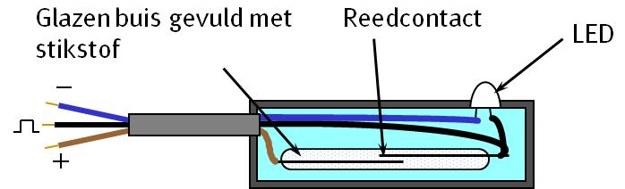 Schematisch overzicht een een Reed-bewegingssensor.